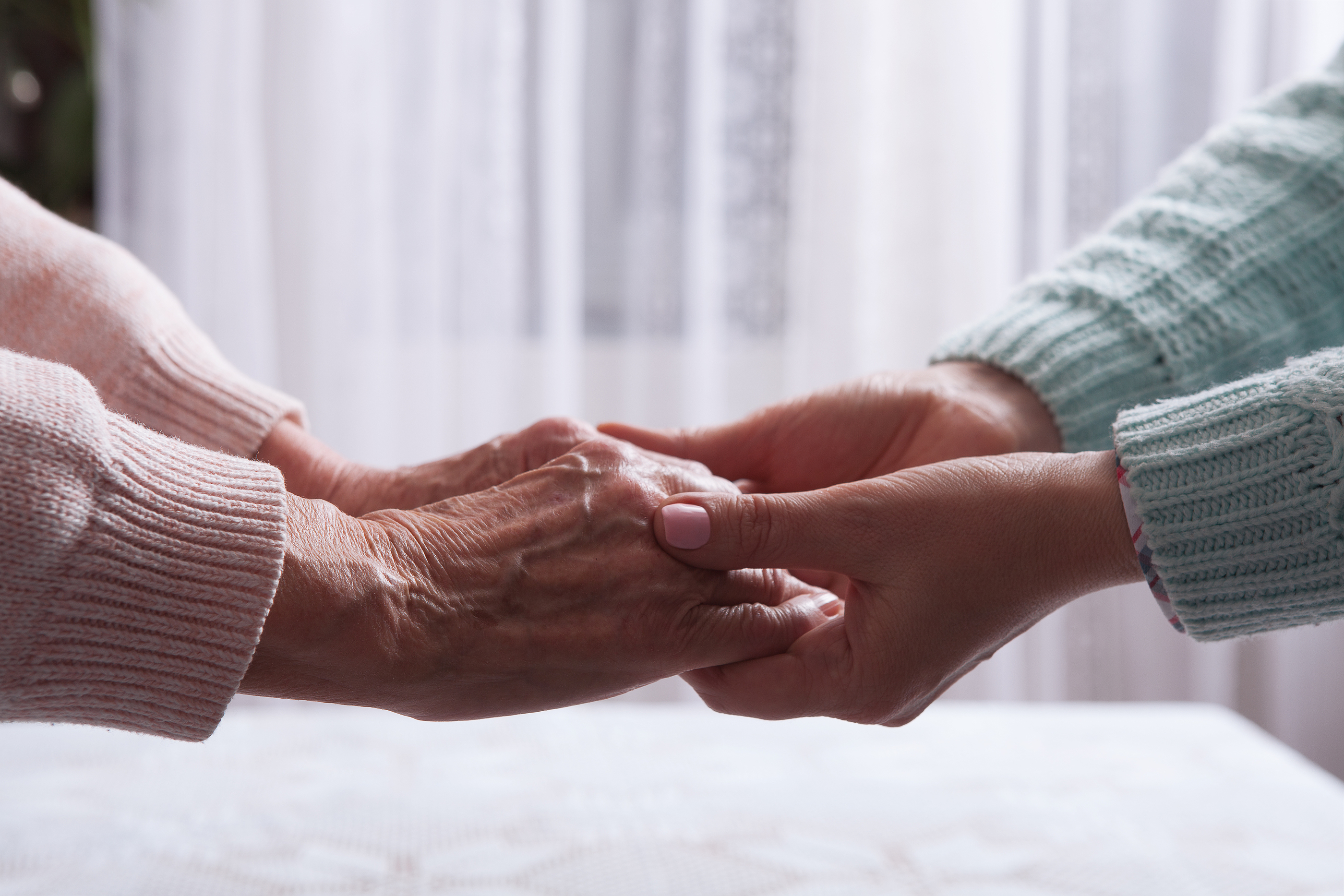 Senior woman with their caregiver at home in Laguna Hills, CA.