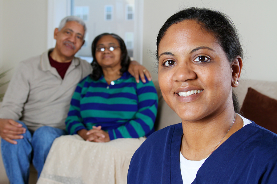 Home health care worker and an elderly couple in San Juan Capistrano, CA