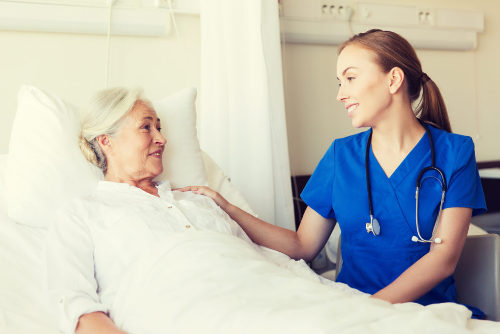 Nurse looking after elderly woman in Laguna Hills, California.